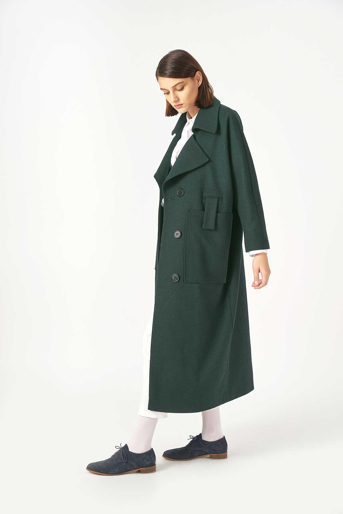 Kuaybe Gider - Kuaybe Gider Yeşil Kadın Palto 7101