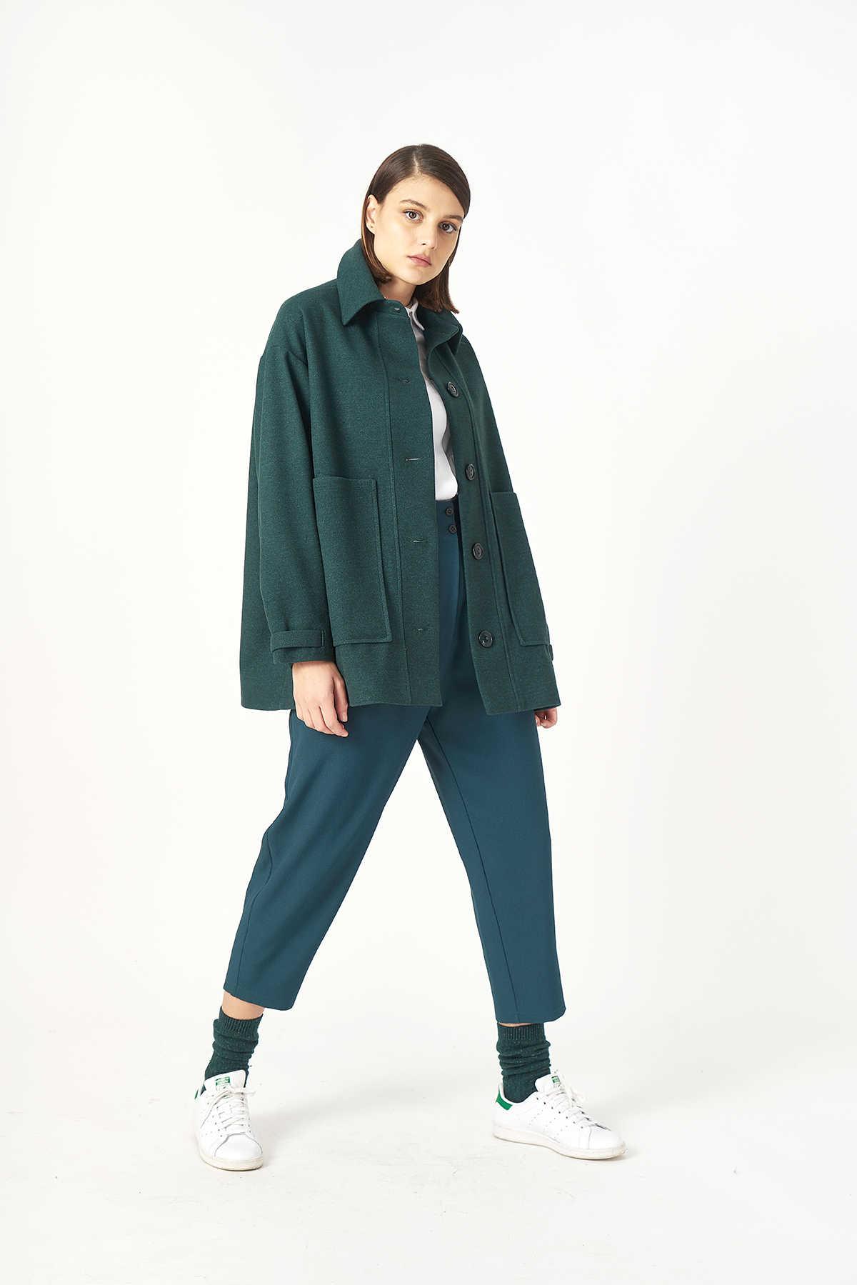 Kuaybe Gider - Kuaybe Gider Yeşil Kadın Palto 7102