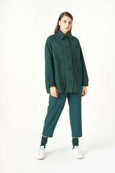 Kuaybe Gider Yeşil Kadın Palto 7102 - Thumbnail
