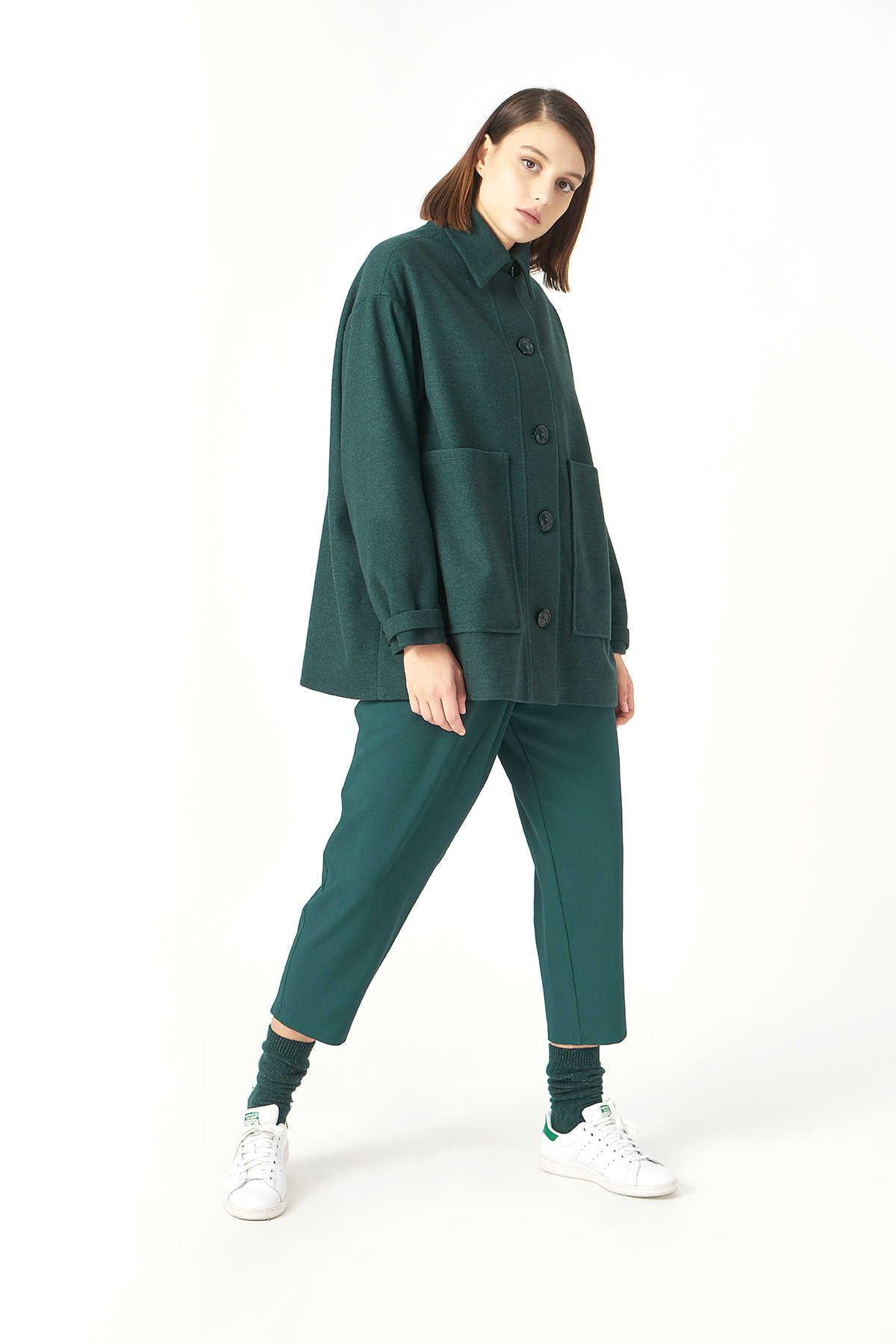 Kuaybe Gider Yeşil Kadın Palto 7102