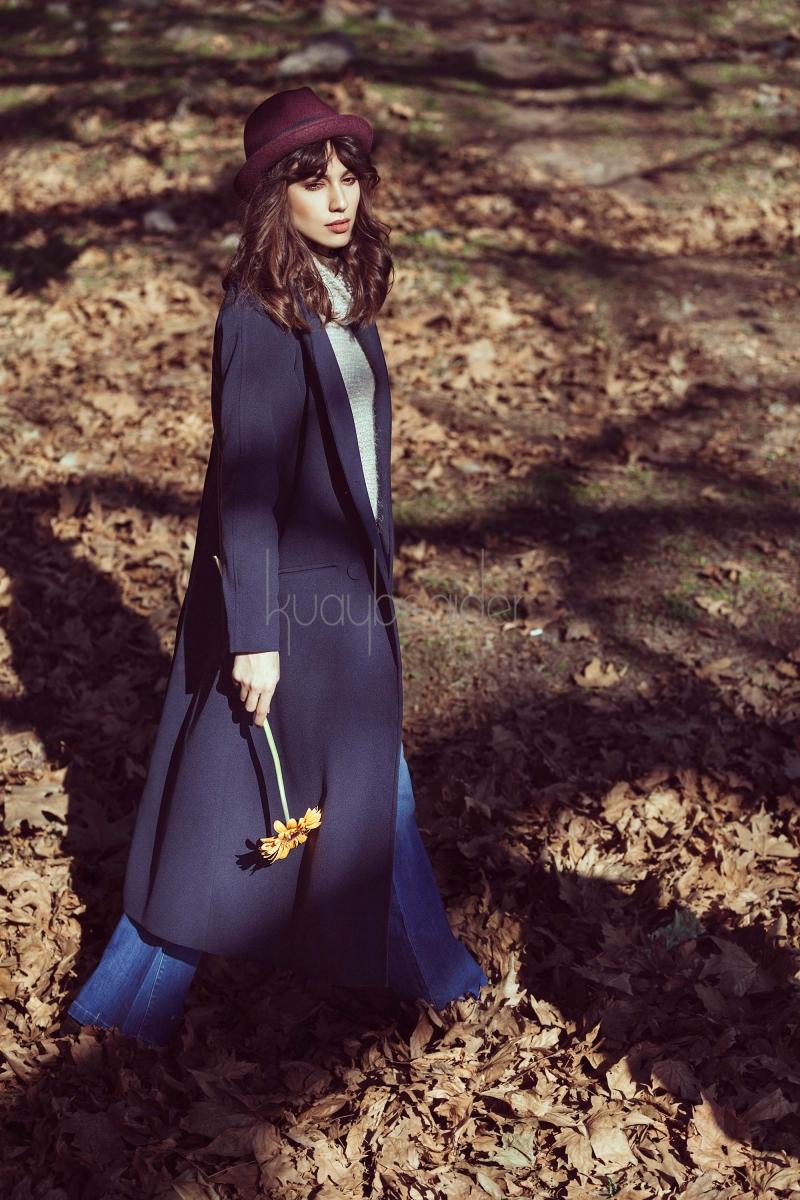 Kuaybe Gider - Lacivert Ampirik Palto