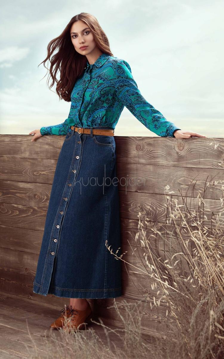 Kuaybe Gider - Marble Denim Koyu Mavi Uzun Etek