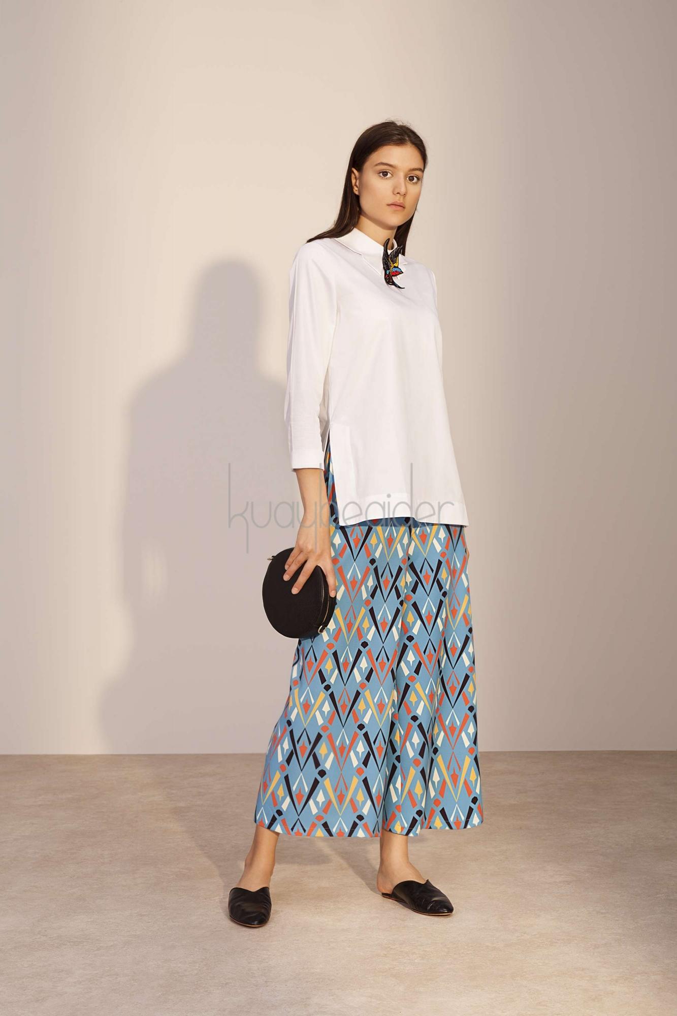 Kuaybe Gider - Mavi Desenli Dignita Pantolon