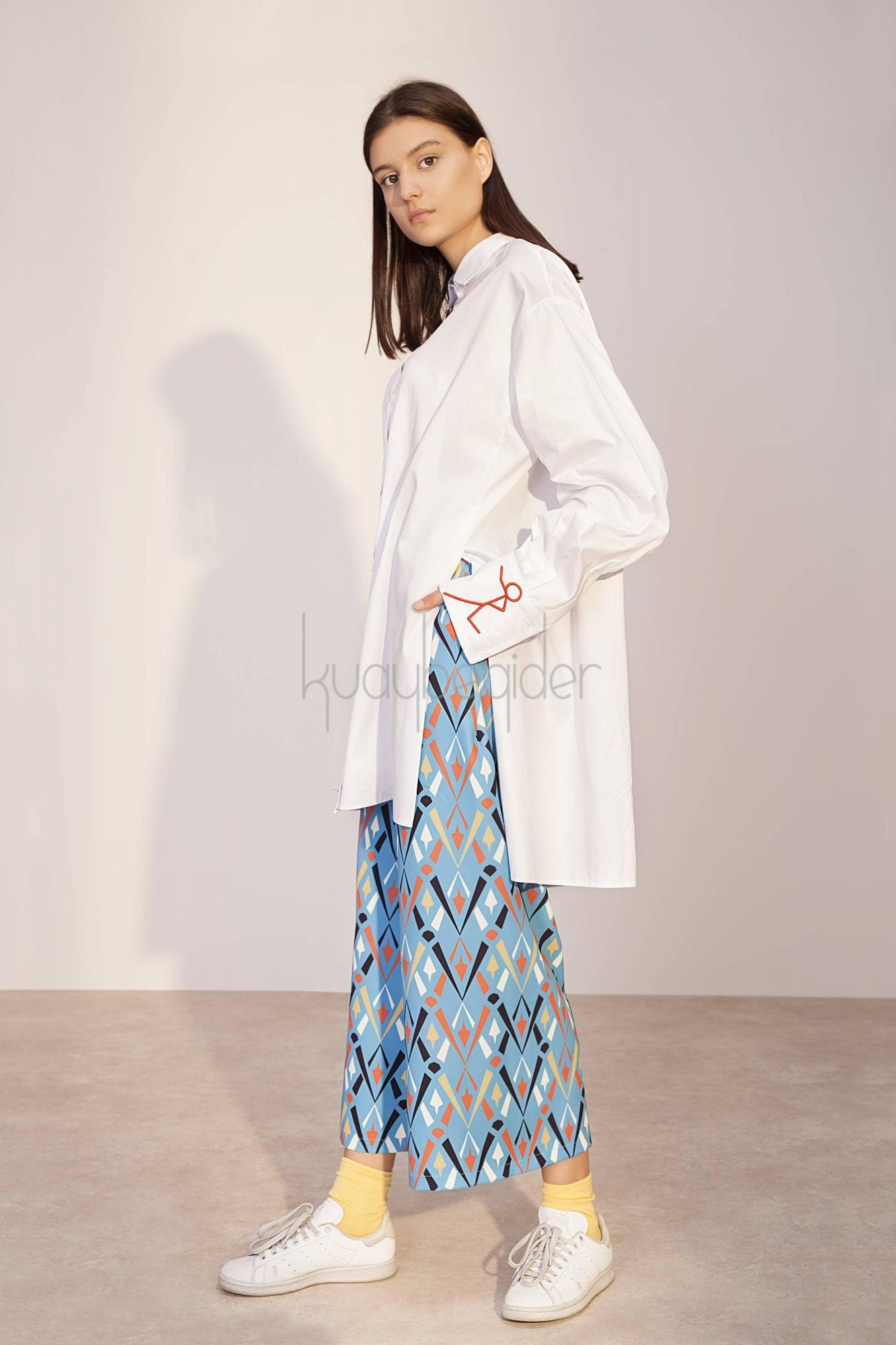 Mavi Desenli Dignita Pantolon