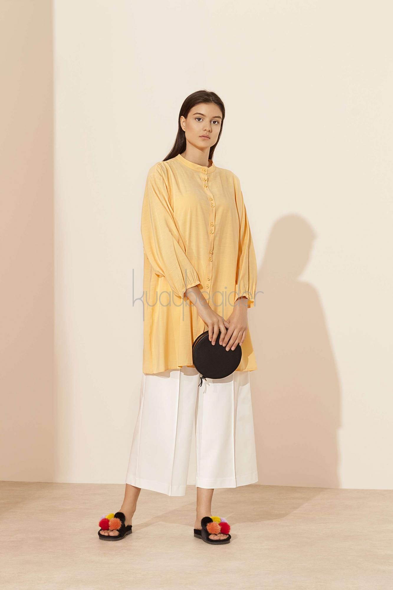 Kuaybe Gider - Şeftali Sarı Fresco Tunik